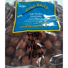 16mm HIGH GRADE SHOCK FISH & MEAT BOILIES 500g bag DYNO BAITS