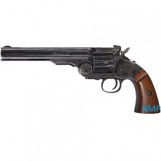 ASG Schofield Revolver .177 calibre Pellet 12g Co2 6 inch Black Aged Finish with Wood effect Grip 6 shot .177 pellet