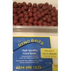 10MM HIGH GRADE HALIBUT FISH FLAVOURED MINI BOILIES 250g TUB ( DYNO BAITS )