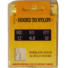 A PACK OF 10 BARBLESS HOOKS TO NYLON 4LB BREAKING STRAIN (SIZE 12)