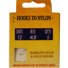 A PACK OF 5 BARBLESS HOOKS TO NYLON WITH PASTE COIL 4LB BREAKING STRAIN (SIZE 12)