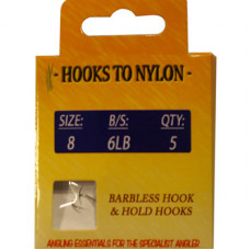 A PACK OF 5 BARBLESS HOOKS TO NYLON WITH PASTE COIL 6LB BREAKING STRAIN (SIZE 8)