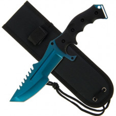 11 inch Huntsman Style Knife with Rubber Handle and Blue Edge Blade (934)