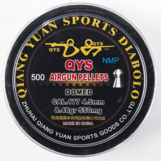 Qiang Yuan Sports, QYS FT Domed Airgun pellets .177 calibre 4.49mm 8.48 grains tub of 500 Light