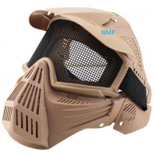 Airsoft BB Gun Face Mask Big Foot Tactical Full Face Protection with Eye Protection (Re-Enforced) Tan