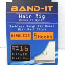 Band-it barbless hair rig hooks to nylon Size 16 (BAN123)