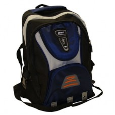 Blue Sport style rucksack, back pack with a number of zips storage compartments and night warning orange light reflector